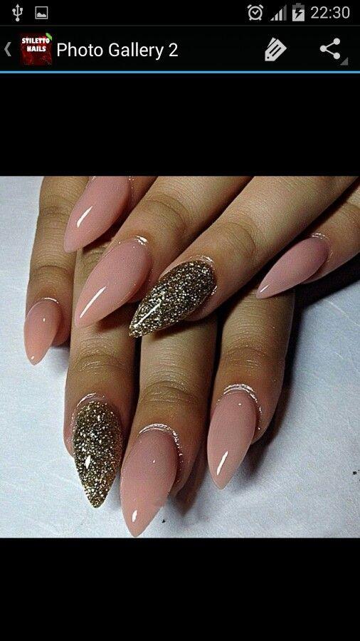 Gorgeous stiletto nails dark silver glitter