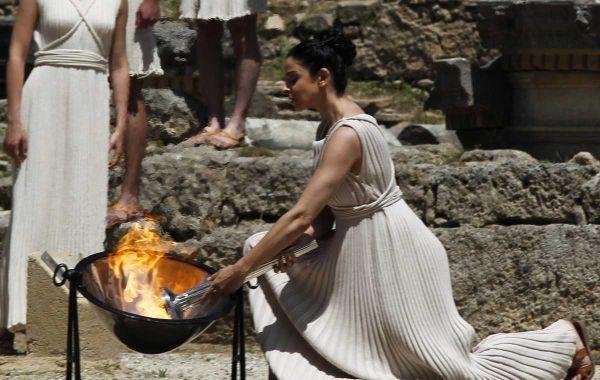 Olympic flame lit in GREECE - Ancient Olympia