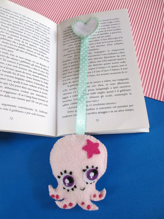 Pink octopus bookmark, made of fleece and felt