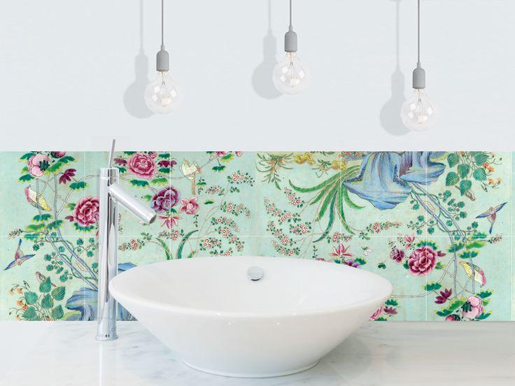 cr dence adh sive chinoiseries vert c ladon salle de bain pinterest cr dence vert celadon. Black Bedroom Furniture Sets. Home Design Ideas