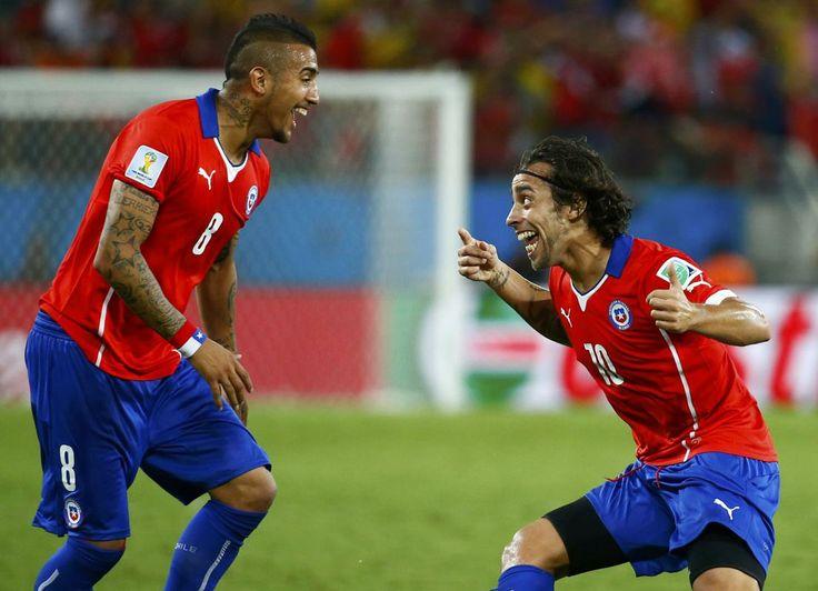 Chile's Jorge Valdivia celebrates their second goal during their match against Australia