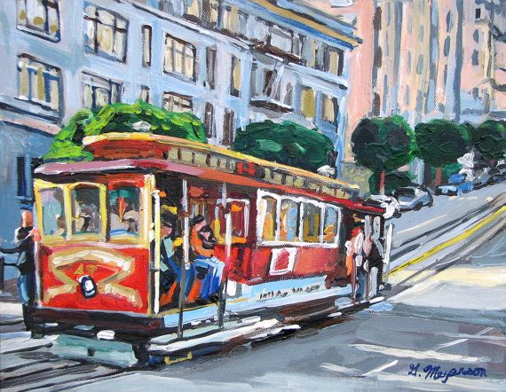 San Francisco 8x10 Fine Art Print Cityscape Cable Car red gray Painting by Gwen Meyerson on Etsy, $20.00