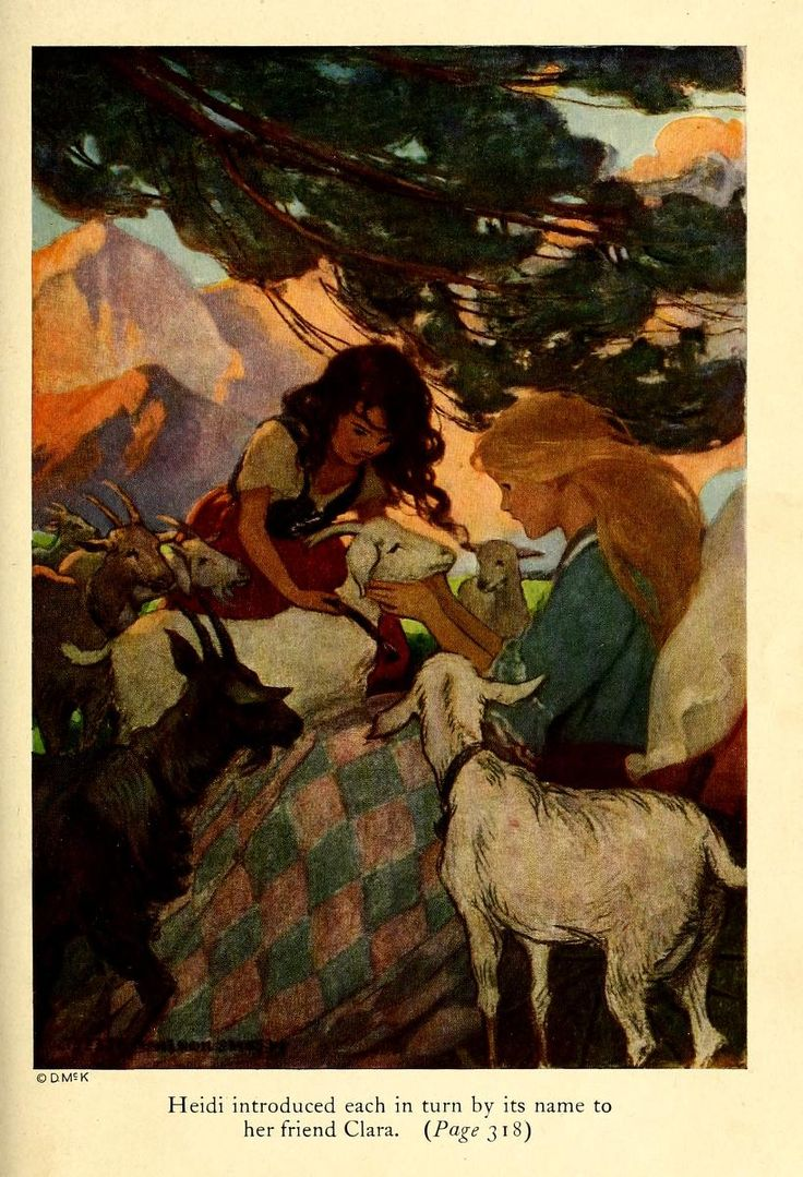 Heidi introduced each in turn by its name to her friend Clara - Heidi by Johanna Spyri; published by David McKay Company, 1922