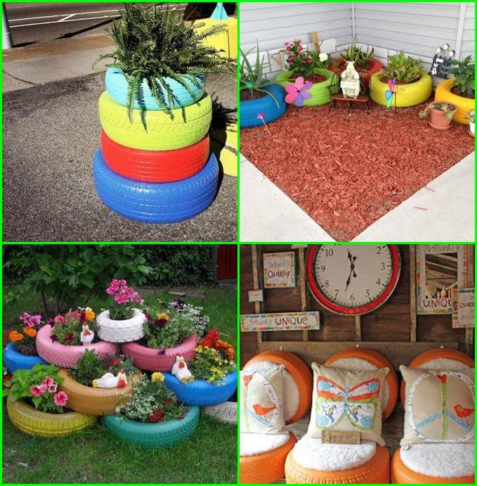 Creative decorations for old tires creative ideas for old for Recycled centerpiece ideas