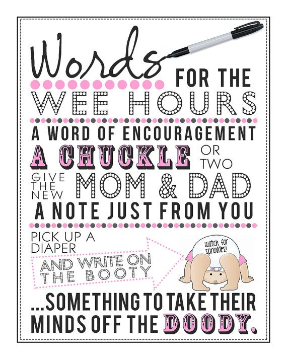 Pink Words For The Wee Hours Baby Shower 5x7 amp 8x10