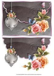 Mooie Vlinders en Glow Roses geschulpte rand Envelope