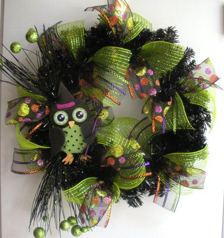 Halloween wreath with owl and mesh by AllisonStrider on Etsy, $36.00