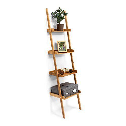 relaxdays tagre chelle en bambou 4 tages hxlxp 176 x 44 x 37 cm salon - Etagere Echelle Salle De Bain