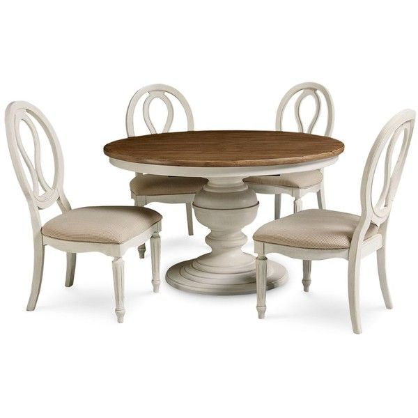 Sag Harbor Round Dining Furniture, 5-Pc. Set (Expandable Round Dining... ($2,195) via Polyvore featuring home, furniture, cotton, expandable furniture, butterfly leaf dining table set, extending dining table sets, extendable dining set and expandable dining table set