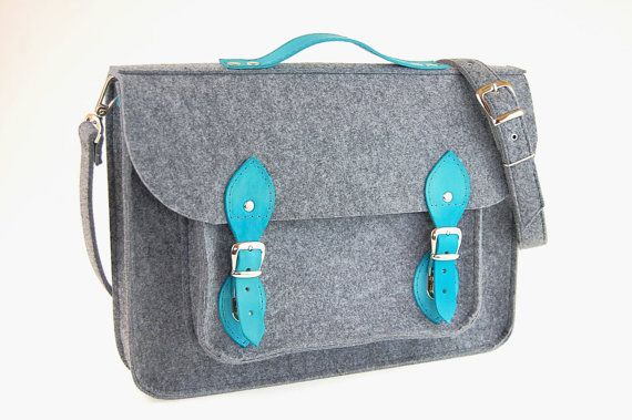 Felt Laptop 17 inch bag with pocket, satchel, Macbook Pro 17 inch, CUSTOM SIZE Laptop bag, case with leather straps and belt shoulder