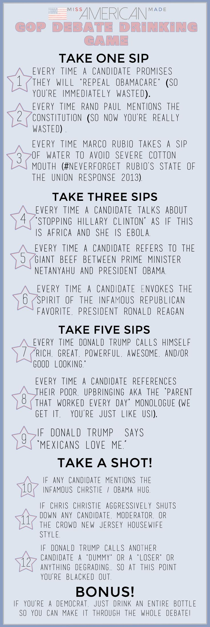 GOP Presidential Debate Drinking Game by Miss American Made. Your bound to get totally wasted!