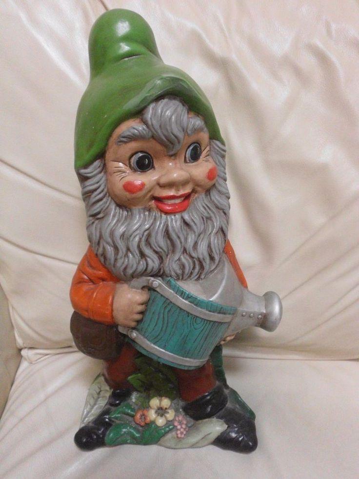 "17"" Vintage Hand Painted Ceramic Yard Gnome Troll Male Handmade Figurine Statue"