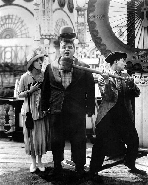 "Buster Keaton with Alice Lake and Roscoe ""Fatty"" Arbuckle in Coney Island (1917)"
