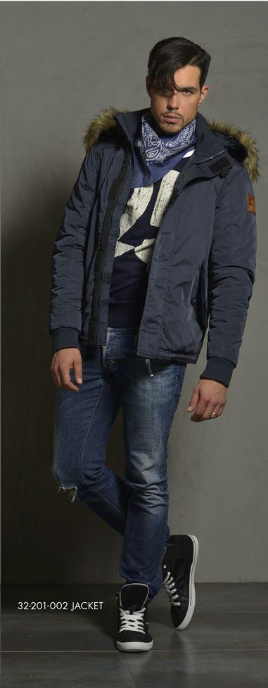 Men's jacket with detachable hood & fake fur around hood. www.biston.gr