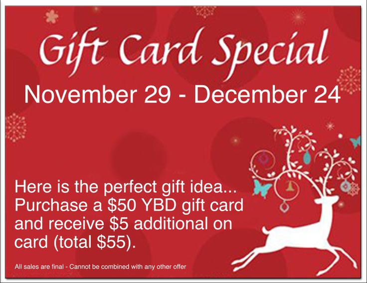 Gift Card Special: November 29 - December 24  Here is the perfect gift idea… Purchase a $50 Yarns By Design gift card and receive $5 additional on card (total $55).   All sales are final - Cannot be combined with any other offer