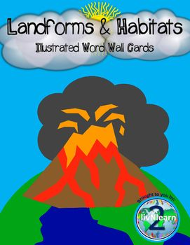 Landforms and Habitats Illustrated Word Wall Cards. Help your students learn and use vocabulary quickly. Use these cards in a center, as a science bulletin board, or on a word wall!