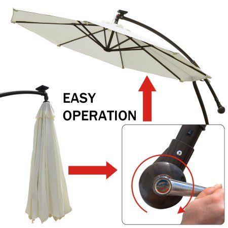 9 ft Cantilever Solar Powered LED Light Patio Offset Hanging Umbrella Outdoor Garden Ecru