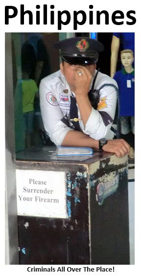 """Pick-pocketing is a BIG problem! Violent crime is high, and foreigners are usually the victims. Security """"officers"""" (mostly smoking, picking their nose or staring at women) are on alert. Hahaha! A country, whose people chose an actor-politician (Joseph Estrada), convicted of corruption, first as their President, and meanwhile as Major of Manila - cannot be taken seriously! PS: Prostitution is illegal. How come that about 1,000,000 women officially work as prostitutes?"""