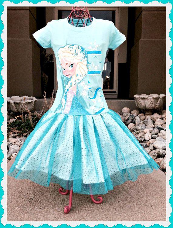 girls dress made from aqua blue FROZEN shirt Princess Elsa 4 5/6 and 6X