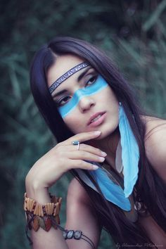 Native American Woman in War Paint