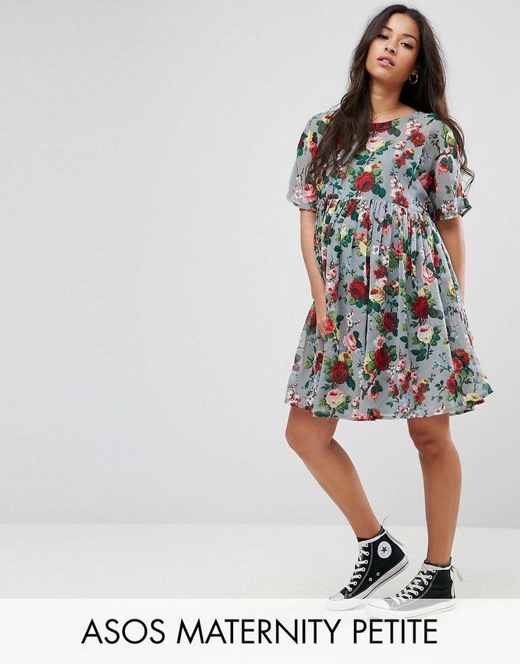 ASOS Maternity PETITE Smock Dress in Floral Print - Multi