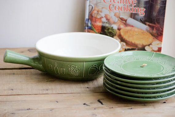 Mid Century Swiss Porcelain Fondue Pot with Six luncheon plates - LANDERT Green Ceramic Dinnerware - Made in Switzerland -  Gift for Her