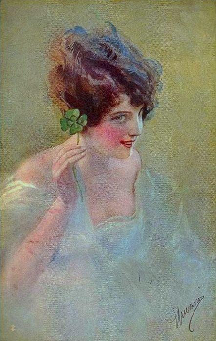 St Patrick's Day- Guerzoni, Giovanni (b,1876)- 4 Leaf Clover