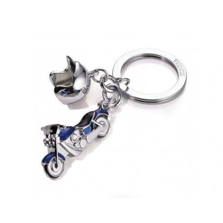 Breloc in forma de motocicleta si casca, realizat din metal cromat si elemente SWAROVSKI®.Culoare albastru.Dimensiuni: 110 * 35 * 22 mmGreutate: 35 Gramm