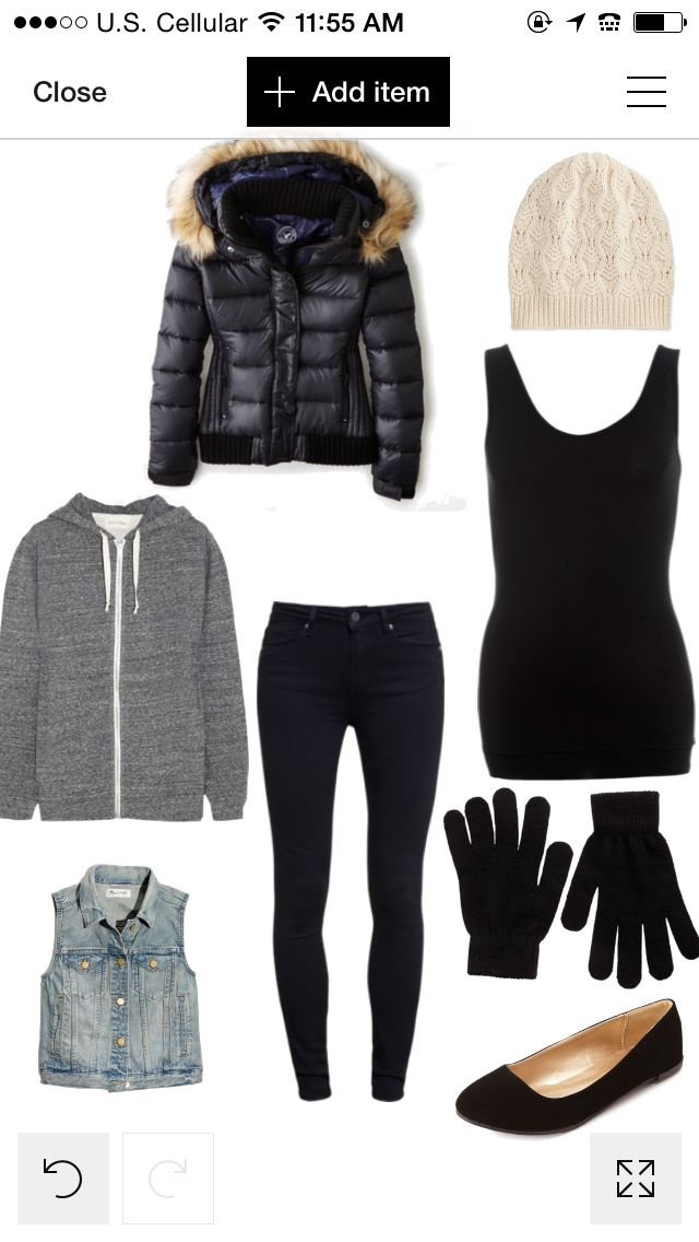 Airport outfit black grey jeans coat puff down gloves hate white jean vest cute style winter autumn trip vacation