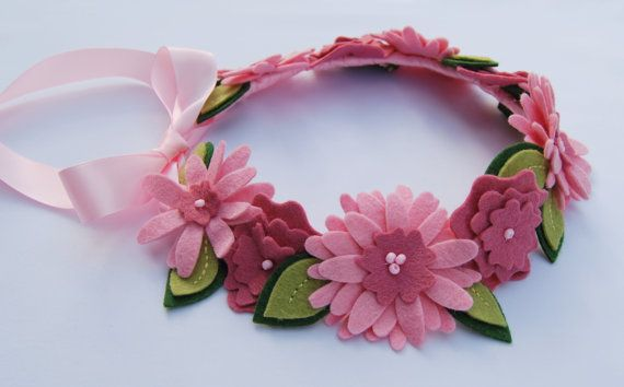 Flower Crown Hair Wreath Headband   Wool Felt by CuriousBloom, $34.95