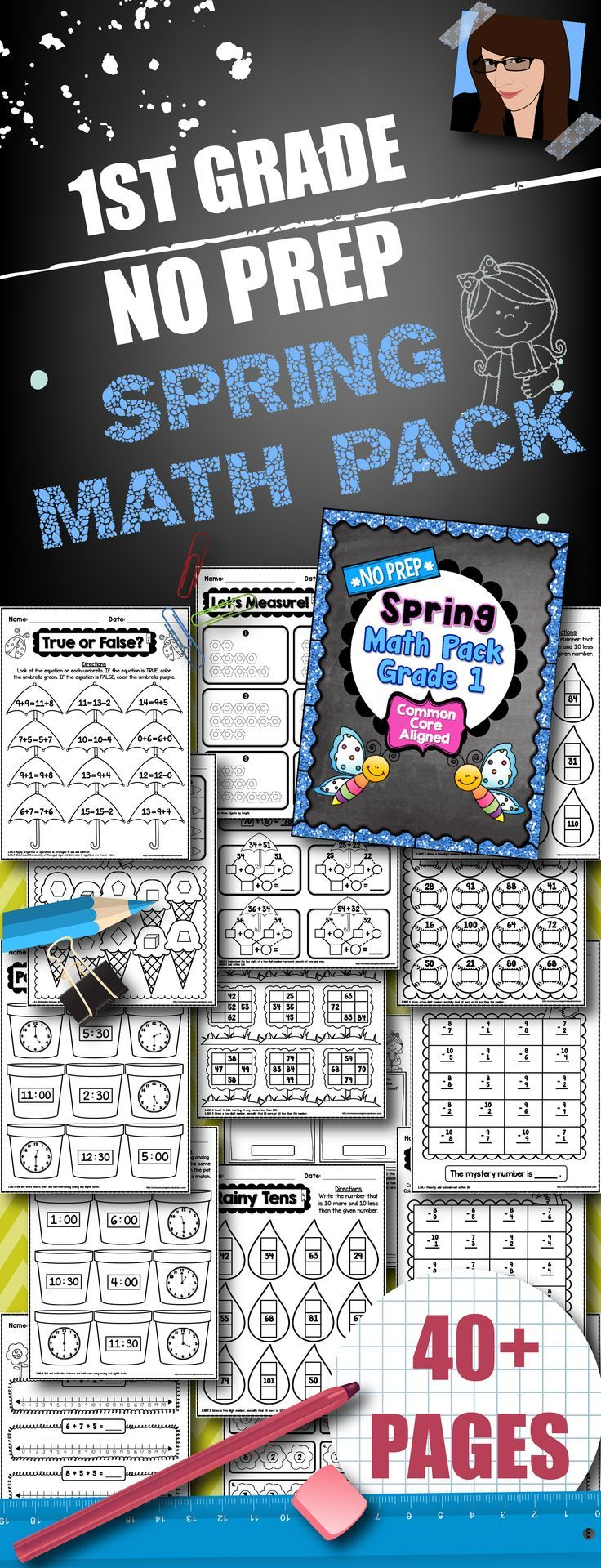 Worksheet K5 Math Teaching Resources 10 best images about math for first grade on pinterest fact 1st no prep spring pack 40 printables