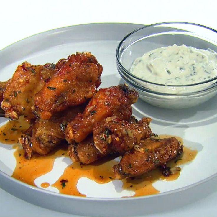 Honey-Rosemary Wings with Greek Yogurt and Lemon Garlic Dipping Sauce By Anne Burrell