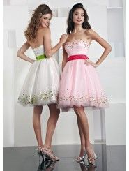 Tulle Modified Sweetheart Gathered Bodice Short Prom Dress