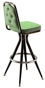 The bar lounger features Richardson Seatings upscale stack chair back with all welded pyramid