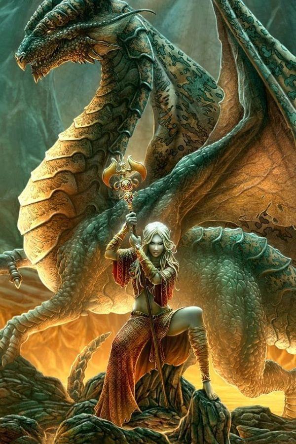 Dragon Master...#dragon #blue/gold #fantasy #art by annette