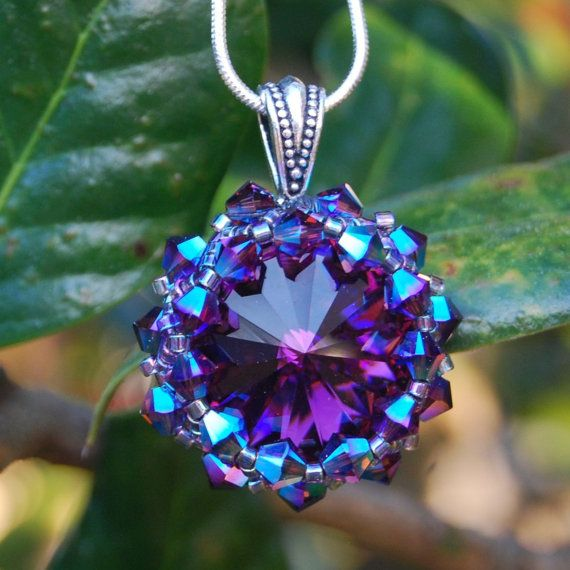 Deep Purple Swarovski Crystal Rivoli Pendant by JewelryOfNote, $45.00