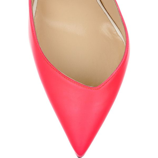 Christian Louboutin Dalida 120 neon leather pumps (€375) ❤ liked on Polyvore featuring shoes, pumps, neon pumps, slip on shoes, leather slip on shoes, wide width pumps and leather shoes