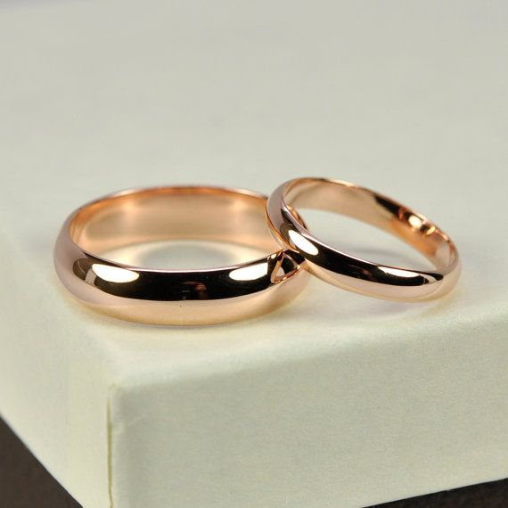 14K Rose Gold Wedding Band Set Half Round 3mm and 5mm Rings, Eco Friendly Jewelry, Sea Babe Jewelry - 549.00