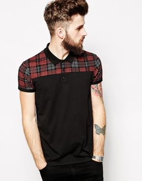 Whatever this would be cute on me  ASOS Polo Shirt With Tartan Check Panel