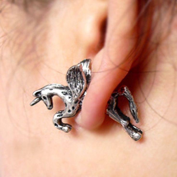1Pc Vintage Women Men Ear Stud Unicorn Horse Earrings