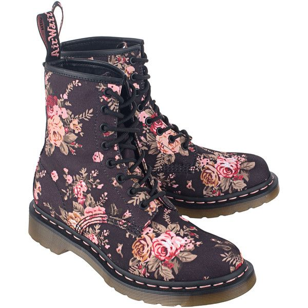 DR. MARTENS Victorian Flowers 8 Eyes // Canvas lace up boots ($175) ❤ liked on Polyvore featuring shoes, boots, flower print boots, floral boots, canvas lace up boots, dr martens boots and canvas shoes