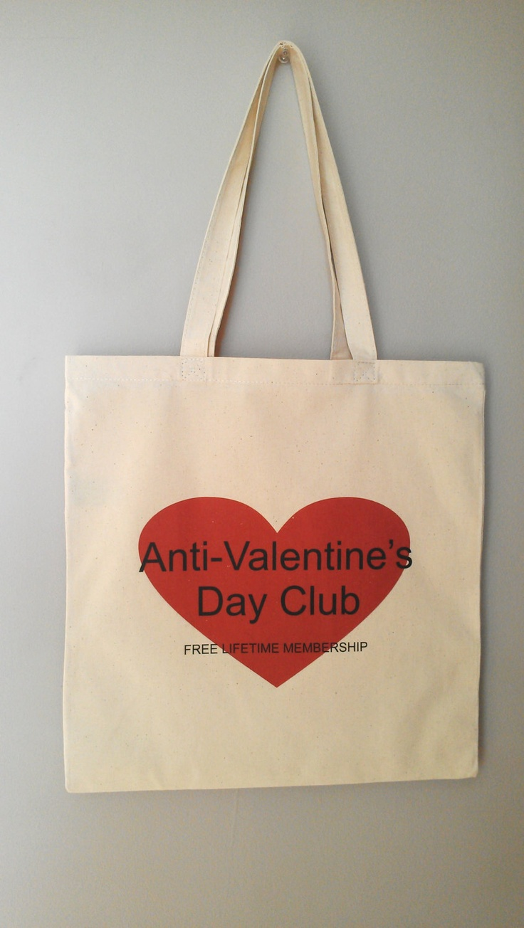 Anti Valentines Day GIFT Heart Eco Friendly Cotton Canvas Tote Valentines Day Gift. $15.00, via Etsy.