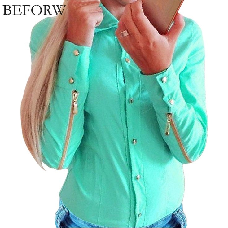 BEFORW Women Blouses Fashion Vintage Tops Shirt Plus Size Women Clothing Long Sleeve Zipper Blouse Green White OL Body Blusas