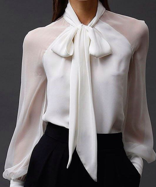 Refined blouse with bow