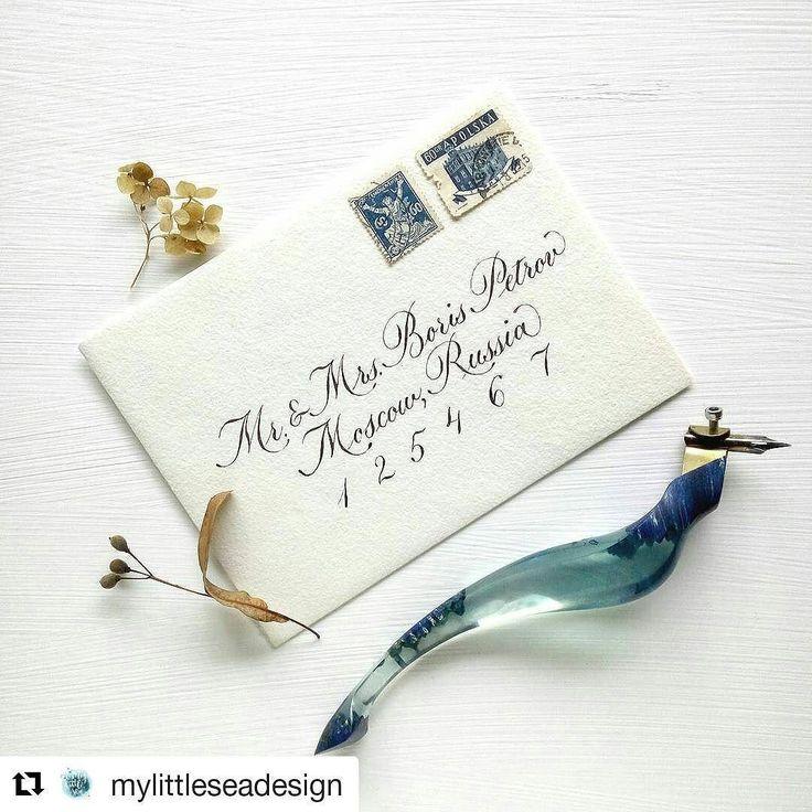#Repost @mylittleseadesign (@get_repost)  Calligraphy envelope addressing and vintage stamps  Больше всего люблю подписывать конверты и подбирать к ним марки...  Конверт ручной работы @dikiy_veresk Держатель для пера @bukvawood