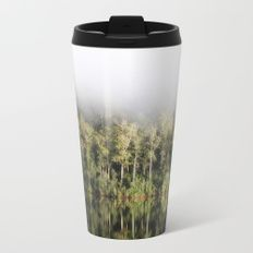 A tree lined lake on a foggy winter's Day Metal Travel Mug