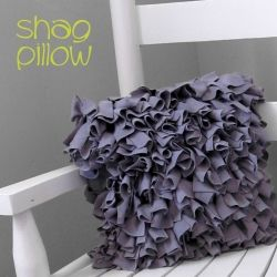 I made this stylish shag pillow by following a great tutorial. It's perfect for the child size rocking chair I found at the thrift store!