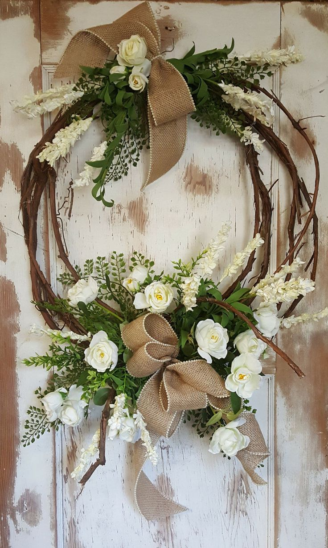 Wreath Wedding Bouquest, White wedding bouquets, Cream wedding bouquet, Country Wedding Bouquet, Outdoor Wedding, Bride bouquet by FarmHouseFloraLs on Etsy