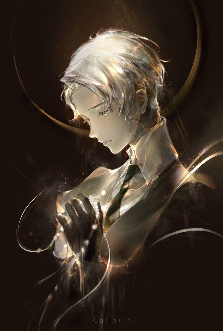 Anime, Boy, White Silver Hair, Suit