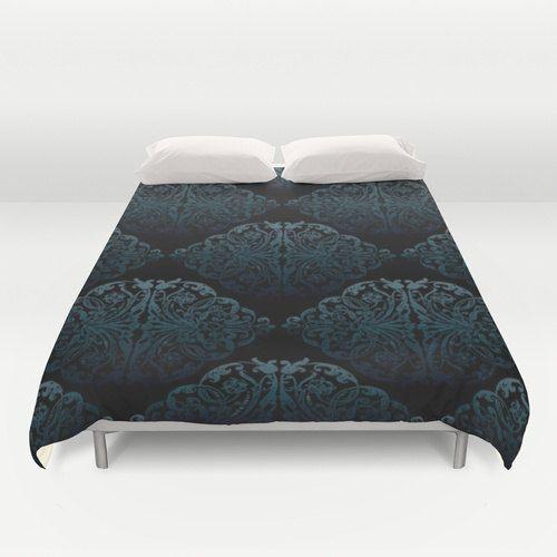 Blue Black Duvet Cover King Size Bed cover King Duvet by NikaLim